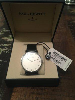Paul Hewitt sailor line Uhr Silber white Sand Leder schwarz