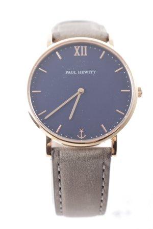 Paul Hewitt Horloge met lederen riempje donkergrijs-donkerblauw