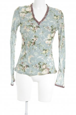 Paul & Joe Seidenbluse blassblau-graulila Blumenmuster Elegant