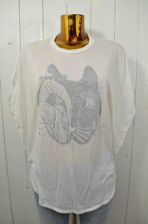 PAUL&JOE SISTER Damen T-Shirt Shirt Weiß Schwarz Print Oversized Rundhals Gr.1