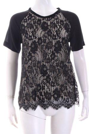 Paul & Joe Sister T-Shirt schwarz-creme florales Muster Elegant