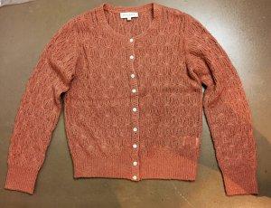 * PAUL & JOE * STRICK JACKE CARDIGAN rosé nude Häkelmuster Wolle Alpaca Gr 3 ( D 38 )