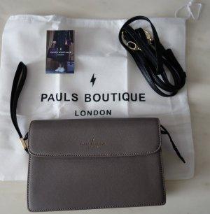 Paul's Boutique London Clutch & Crossbody 2-way Bag Tasche grau x gold metallic