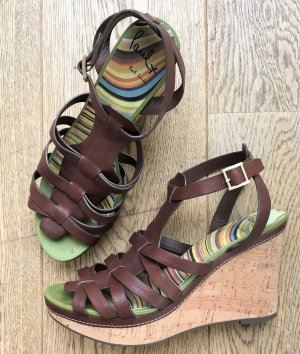 * PAUL SMITH * LEDER SANDALE WEDGE KORK ABSATZ braun Gr 41