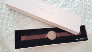 Reloj con pulsera metálica burdeos-violeta amarronado