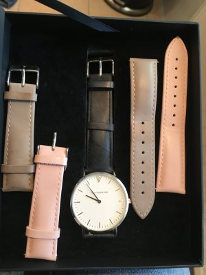 Horloge met lederen riempje veelkleurig Leer