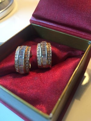 Pave Baguette Diamanten  Ohrringe- , 585 Gold letzter Preis!