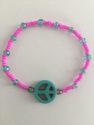 Peace Armband aus Perlen in Pink Türkis neu!