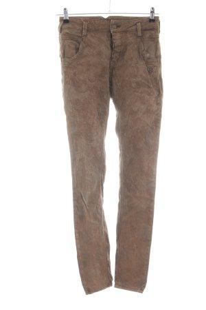 Peace n Love Slim Jeans braun abstraktes Muster Casual-Look