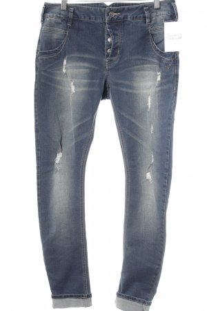 Peace n Love Slim Jeans stahlblau Street-Fashion-Look