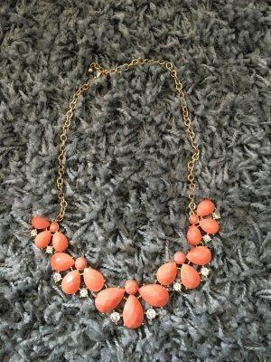 Peach/Gold Kette mit Steinen