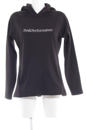 Peak performance Kapuzenpullover schwarz Schriftzug gestickt sportlicher Stil