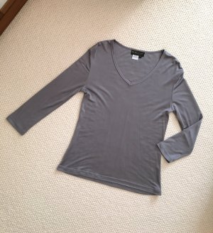 V-Neck Shirt dark grey-grey silk