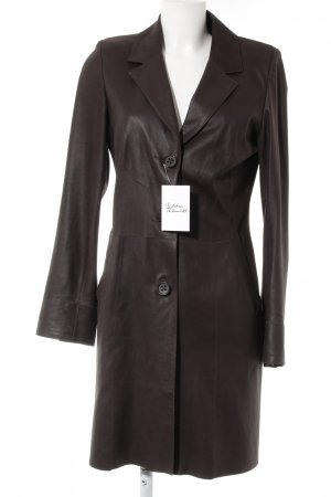 Pearls Leather Coat dark brown classic style