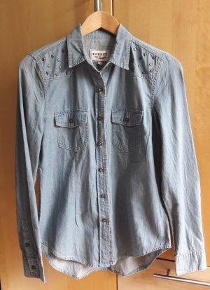 Peckott Blouse en jean bleu azur-bleu pâle