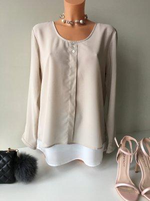 Peckott Damen Shirt Bluse Tunika Oberteil Gr. 38 Nude/Weis