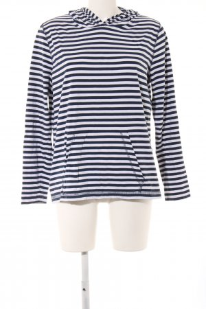 Peckott Kapuzenshirt schwarz-weiß Streifenmuster Casual-Look