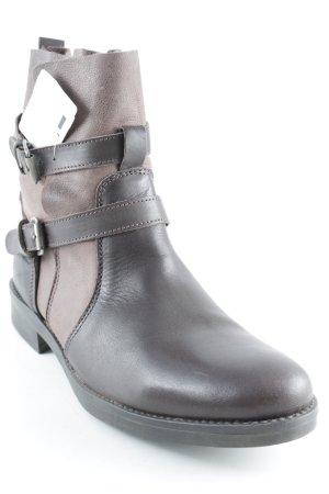 Peckott Reißverschluss-Stiefeletten schwarzbraun-hellbraun schlichter Stil
