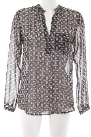 Peckott Schlupf-Bluse schwarz-weiß abstraktes Muster Casual-Look