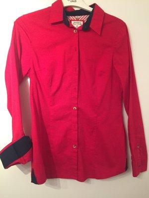 Peckott Stretch Bluse rot dunkelblau S 36 Top Damen Hemd