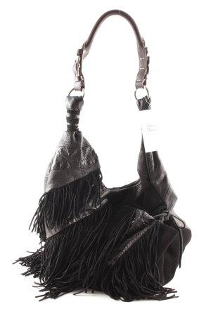 Pedered Fringed Bag black-dark brown reptile print