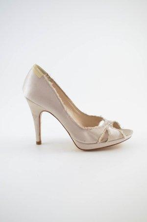 PEDRO GARCIA Damen High Heels Peep Toes Satin Nude Frasen Plateau Gr.37,5