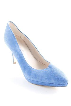 Pedro Miralles Spitz-Pumps stahlblau schlichter Stil