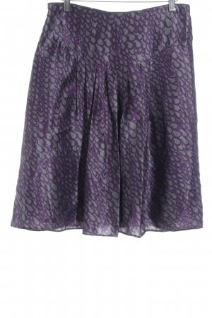 Peek & Cloppenburg Seidenrock lila-dunkelgrau abstraktes Muster Elegant