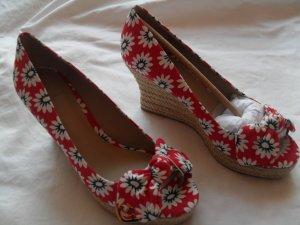 Peep Toe Espandrille Tory Burch GR 38  NEU  _Textil/Leder