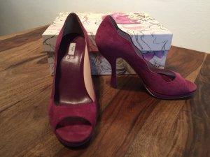 Prada Peep Toe Pumps framboosrood-violet