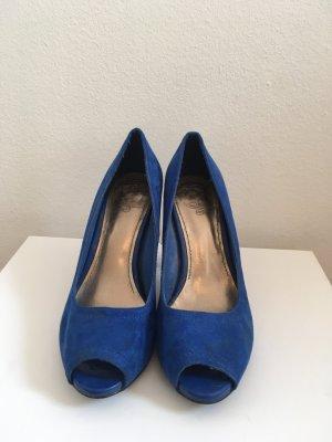 Zara Tacones con punta abierta azul