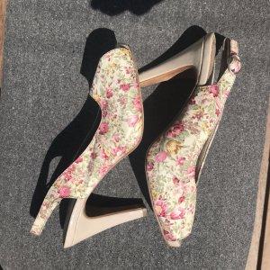 Peep Toe Sandalette mit Blumenmuster