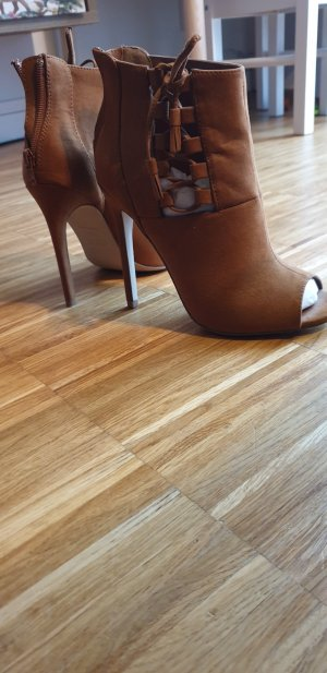 New Look Peep Toe Booties cognac-coloured