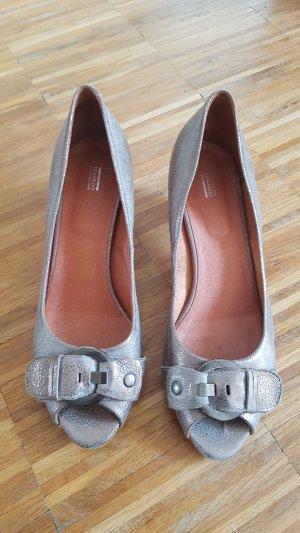 di Marzio Peep Toe Ballerinas silver-colored