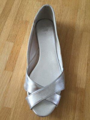 Peeptoe Ballerinas Silbermetallic NEU