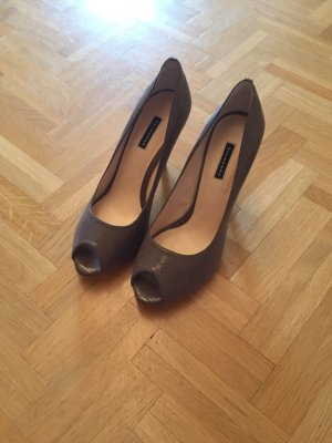 Belmondo Peep Toe Pumps anthracite-taupe