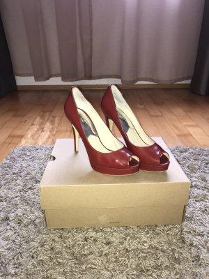 Michael Kors Peep Toe Pumps brick red imitation leather