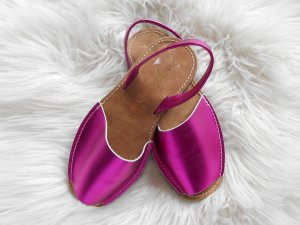 Peeptoe Espadrilles echt Leder Metallic pink made in Spain NEU