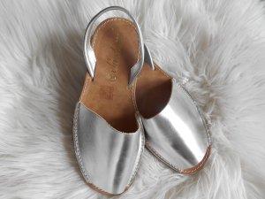 Peeptoe Espadrilles von Paraplaya echt Leder Silber Metallic made in Spain NEU