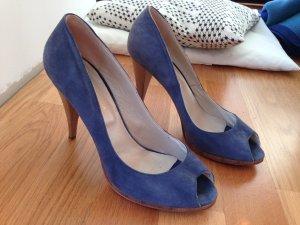 Escarpins à bout ouvert bleu acier-gris ardoise daim