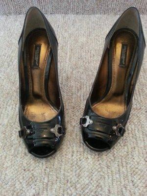 Peeptoe Pumps Dolce & Gabbana schwarz/grau Lack