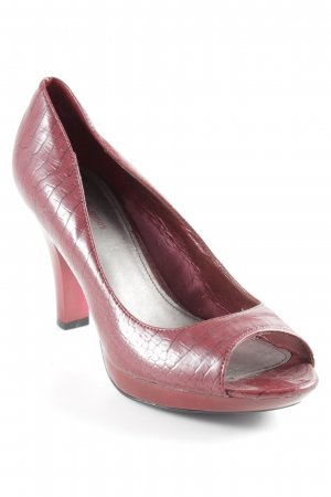 Peep Toe Pumps dark red-black animal pattern extravagant style