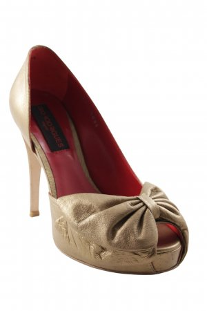 Peep Toe Pumps gold-colored-red extravagant style