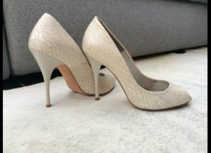 Imperial Peep Toe Pumps natural white leather