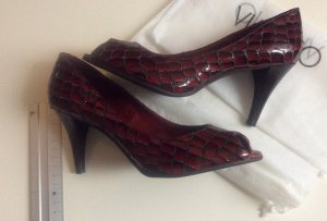 Peeptoe Pumps High Heel Lack Leder Bordeaux Rot Animal  Neu VIA UNO Gr 37