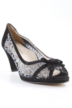 Escarpins à bout ouvert noir-argenté motif floral style décontracté