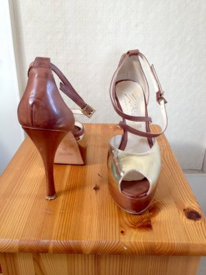 Evita Chaussure à talons carrés marron clair-doré cuir