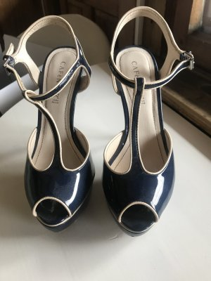Cafènoir Peep Toe Pumps dark blue-cream leather