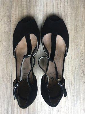 Peeptoe-Sandalen schwarz
