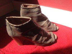 Peeptoe-Stiefelette echtes Leder im Vintage-Stil in Größe 40,5